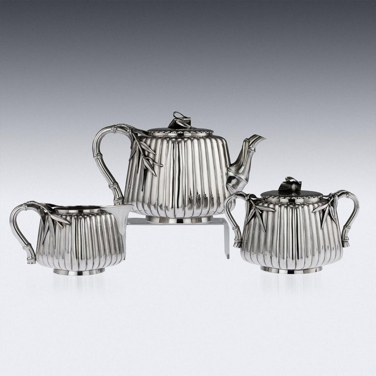 20th Century Japanese Meiji Silver Three-Piece Tea Set, Murakami In Good Condition For Sale In London, London