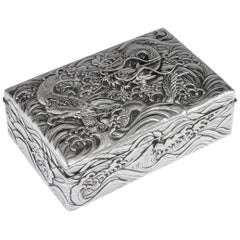 20th Century Japanese Meiji Solid Silver Dragon Cigar Box, circa 1900