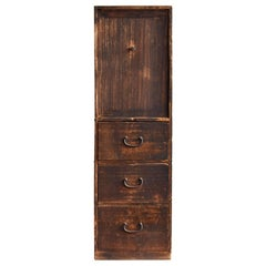 20th Century Japanese Old Shelf Drawer / Tansu Chest / Wooden Exhibition Stand