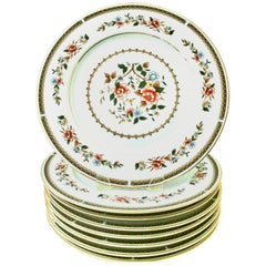 Japanese Porcelain and 22-Karat Gold Floral Motif Dinner Plates, Set of 8