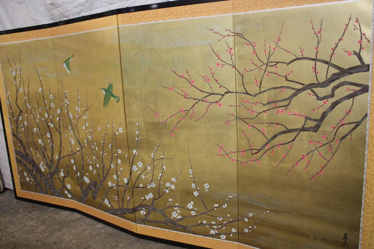 20th century Japanese screen, 4 leaves opened 69in. W Closed 17.25in. W.
