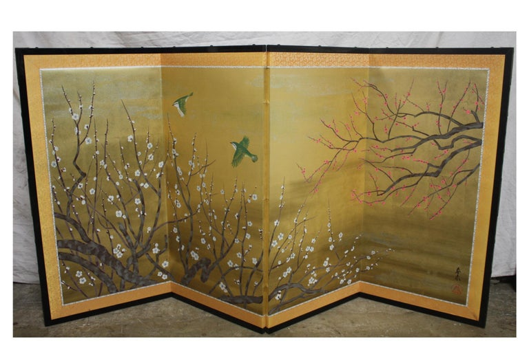 Lacquered 20th Century Japanese Screen For Sale