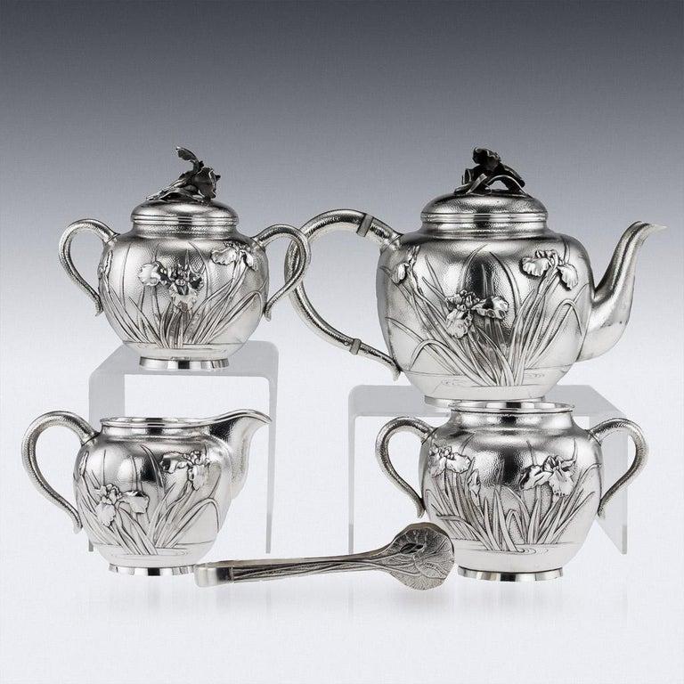 20th Century Japanese Silver Five-Piece Tea Set, Samurai Shokai, circa 1900 In Good Condition For Sale In London, London
