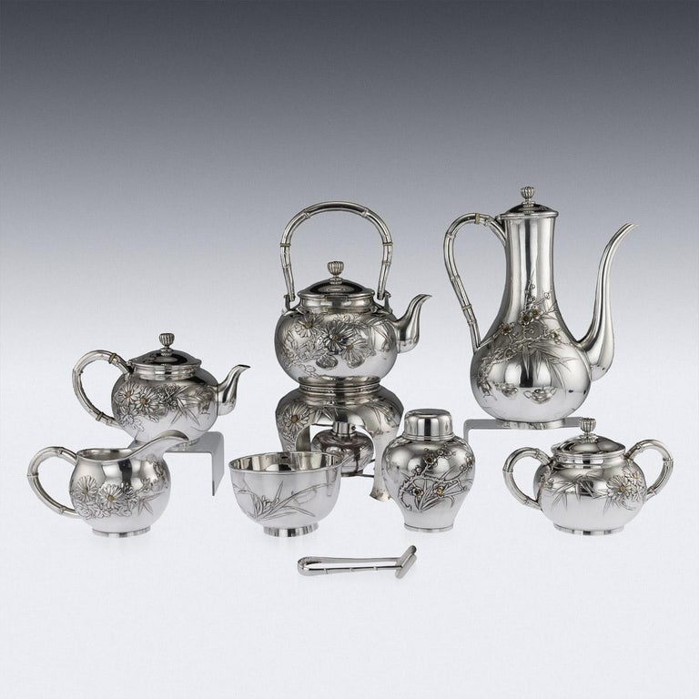 20th Century Japanese Silver Tea & Coffee Set, Miyamoto, Tokyo, circa 1900 In Good Condition For Sale In London, London