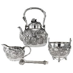 20th Century Japanese Silver Tea Set, Yokohama, Konoike, circa 1900
