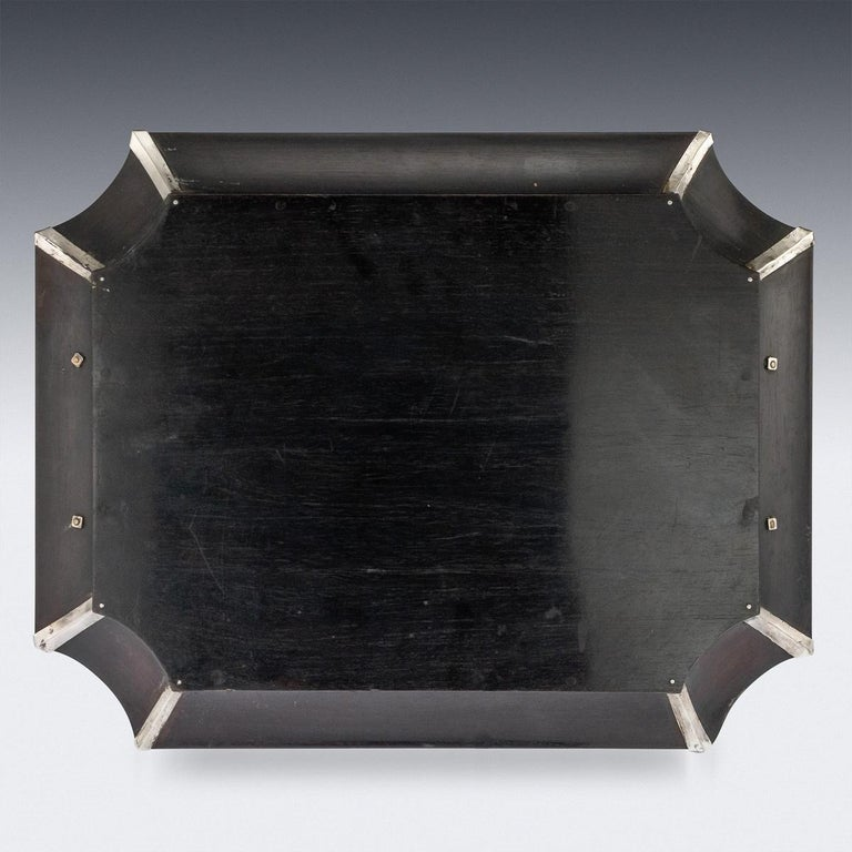 20th Century Japanese Solid Silver on Wood Serving Tray, circa 1900 In Good Condition For Sale In London, London