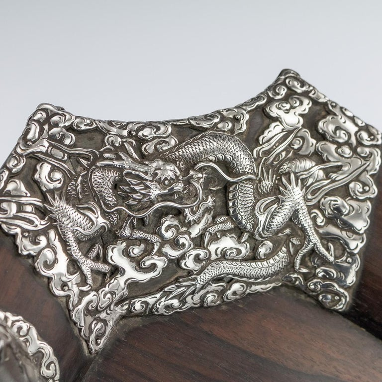 20th Century Japanese Solid Silver on Wood Serving Tray, circa 1900 For Sale 1