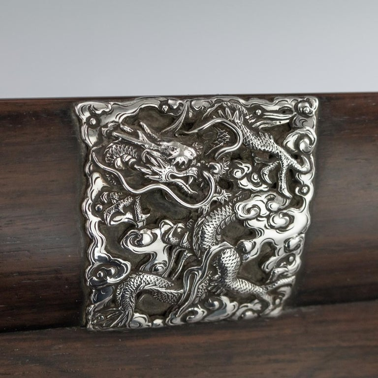 20th Century Japanese Solid Silver on Wood Serving Tray, circa 1900 For Sale 2