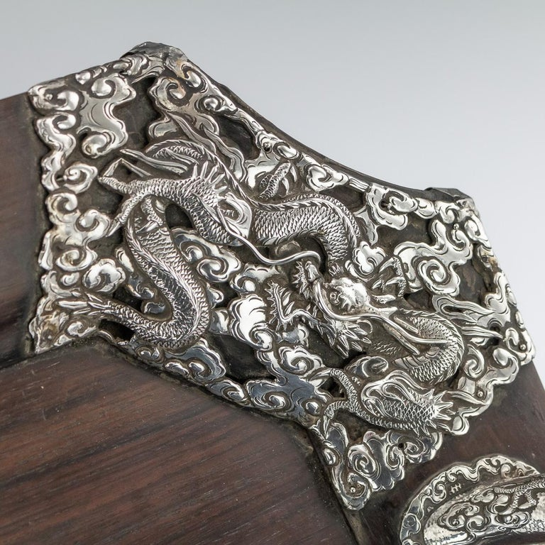 20th Century Japanese Solid Silver on Wood Serving Tray, circa 1900 For Sale 3