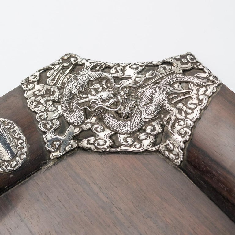 20th Century Japanese Solid Silver on Wood Serving Tray, circa 1900 For Sale 4