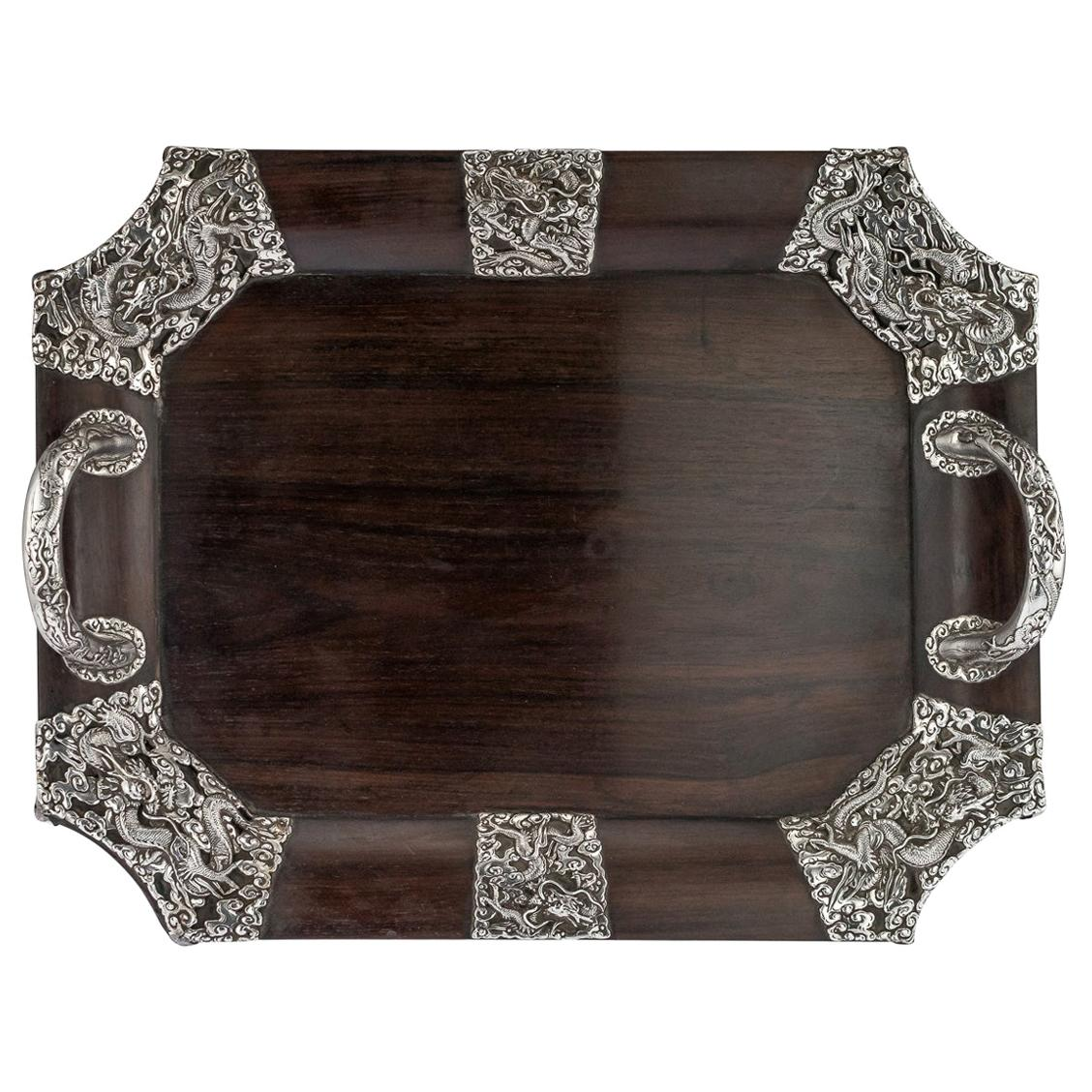 20th Century Japanese Solid Silver on Wood Serving Tray, circa 1900