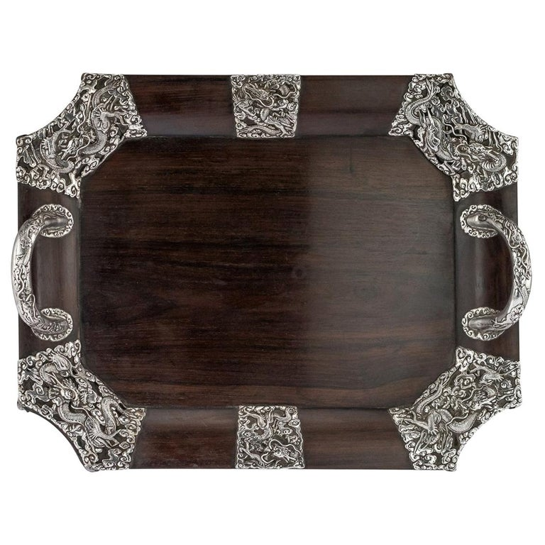 20th Century Japanese Solid Silver on Wood Serving Tray, circa 1900 For Sale