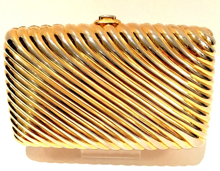 Brown 20th Century Judith Leiber Gold Gilt Ribbed Minaudière Box Clutch For Sale