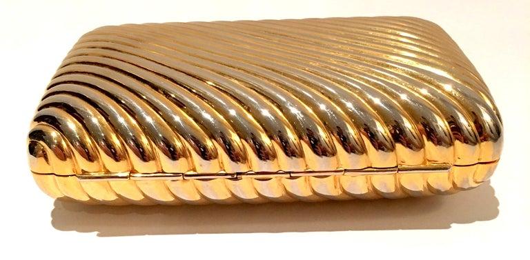 20th Century Judith Leiber Gold Gilt Ribbed Minaudière Box Clutch For Sale 1
