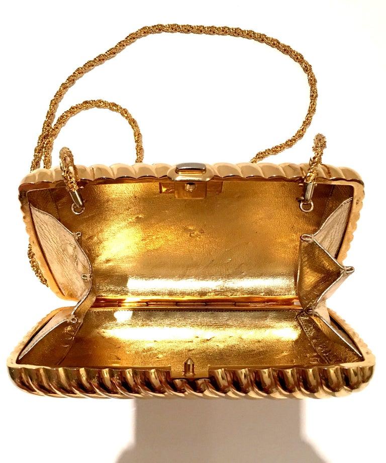 20th Century Judith Leiber Gold Gilt Ribbed Minaudière Box Clutch For Sale 2