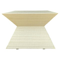 20th Century Karl Springer Style Raffia Covered Square Coffee Table
