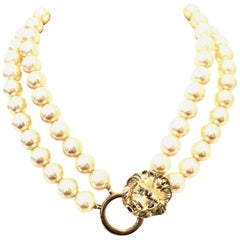 20th Century Kenneth Jay Lane Double Strand Faux Pearl & Gold Lion Head Necklace