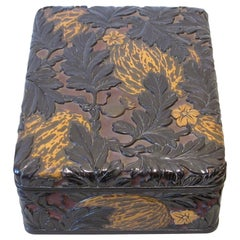 20th Century Kinjoo Ikokusai Carved Lacquer Document Box