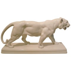 20th Century KPM Berlin Walking White Tiger Statuette, Antoine Louis Barye