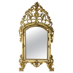20th Century Lacquered and Gilded Wood Italian Louis XV Style Mirror, 1950