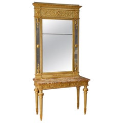20th Century Lacquered and Gilt Wood Italian Louis XVI Console With Mirror, 1950