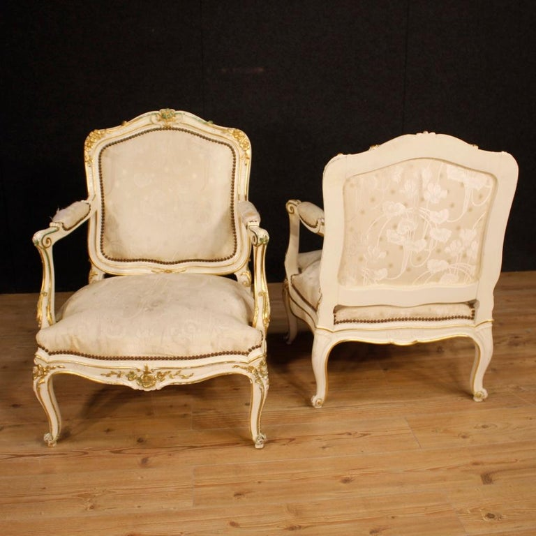 20th Century Lacquered and Gilt Wood Pair of French Armchairs, 1960 For Sale 3