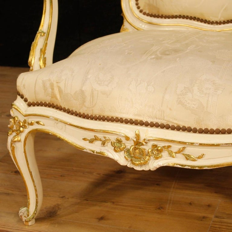 20th Century Lacquered and Gilt Wood Pair of French Armchairs, 1960 For Sale 4