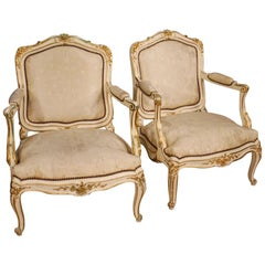 20th Century Lacquered and Gilt Wood Pair of French Armchairs, 1960