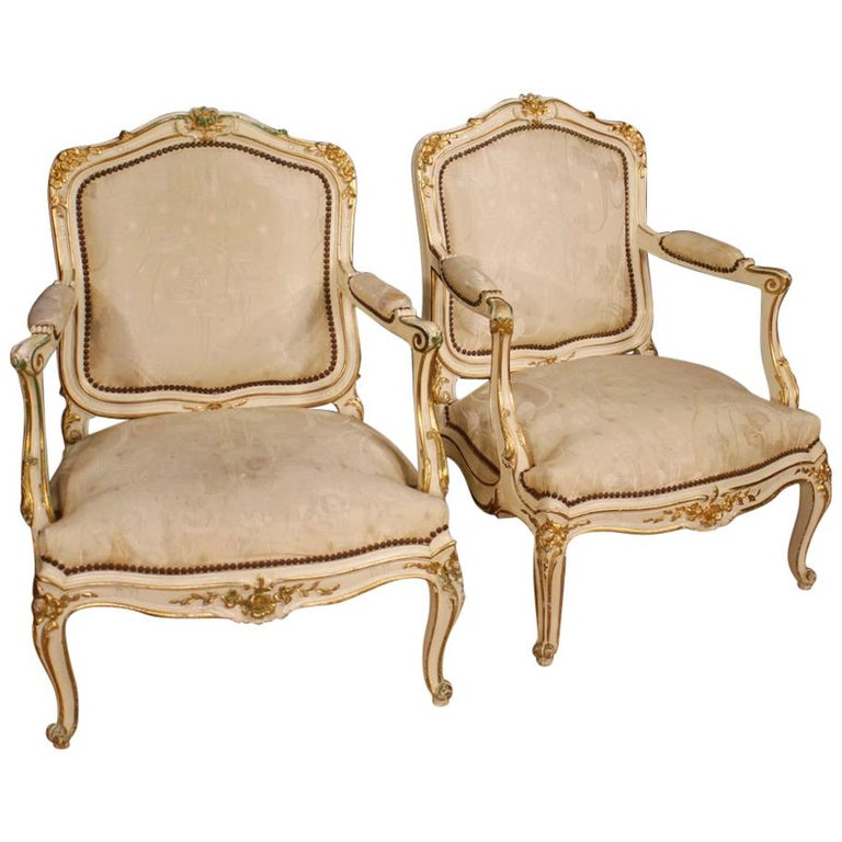 20th Century Lacquered and Gilt Wood Pair of French Armchairs, 1960 For Sale