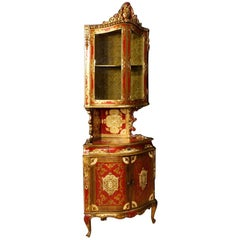 20th Century Lacquered and Giltwood Italian Corner Cupboard, 1960
