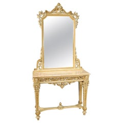 20th Century Lacquered and Giltwood Italian Louis XVI Style Console with Mirror