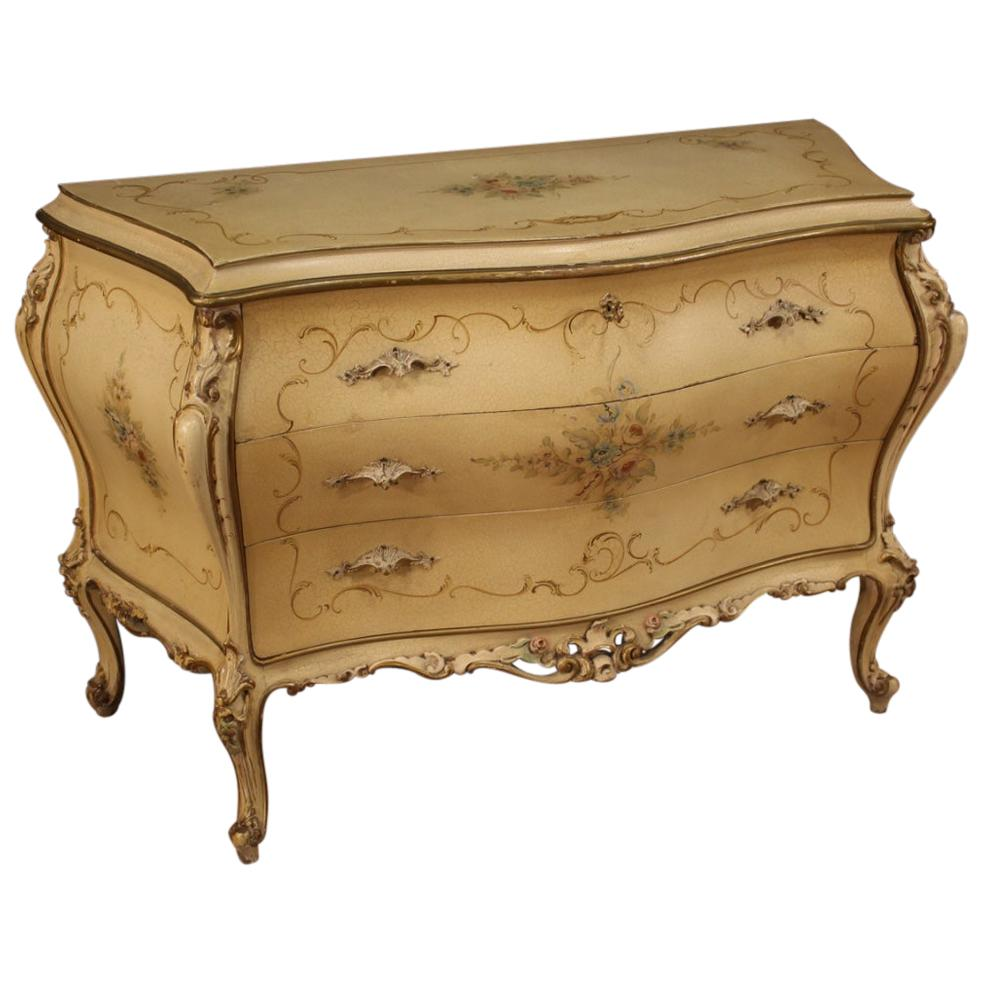 20th Century Lacquered and Hand Painted Wood Venetian Commode, 1960