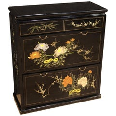 20th Century Lacquered and Painted Chinese Shoe Cabinet, 1970