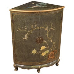 20th Century Lacquered and Painted Chinoiserie Wood French Corner Cupboard, 1970