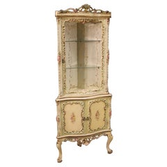 20th Century Lacquered and Painted Wood and Plaster Venetian Corner Cabinet