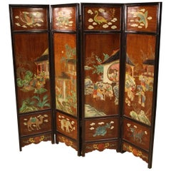 20th Century Lacquered and Painted Wood Chinese Screen, 1960