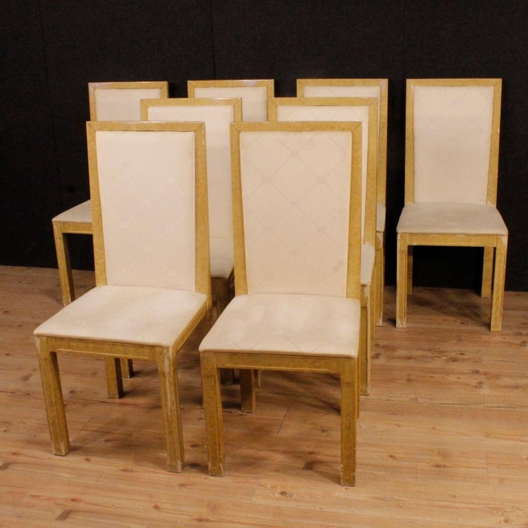 20th Century Lacquered and Painted Wood Italian 8 Chairs, 1970 In Fair Condition For Sale In Vicoforte, Piedmont