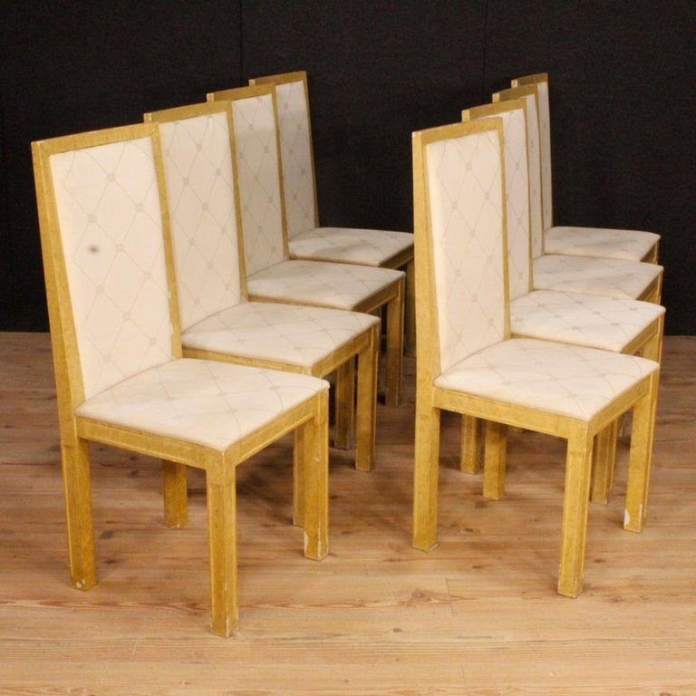 Fabric 20th Century Lacquered and Painted Wood Italian 8 Chairs, 1970 For Sale