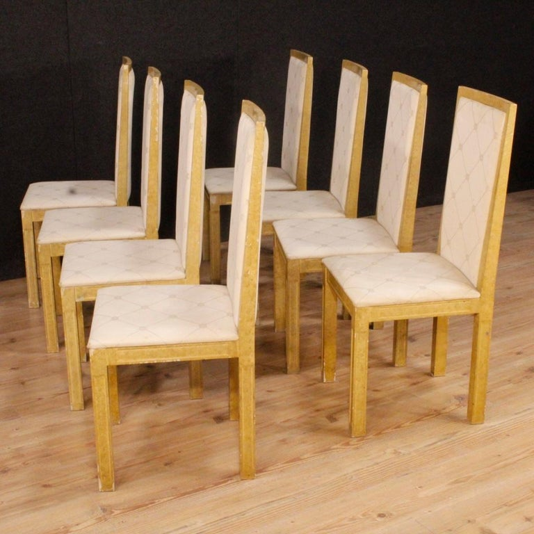 20th Century Lacquered and Painted Wood Italian 8 Chairs, 1970 For Sale 1
