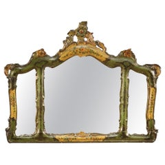 20th Century Lacquered and Painted Wood Venetian Mirror, 1950