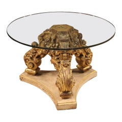 20th Century Lacquered and Painted Wood with Crystal Top Italian Coffee Table