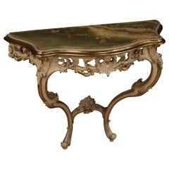 20th Century Lacquered and Painted Wood with Onyx Top Louis XV Style Console