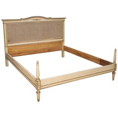 20th Century Lacquered and Silvered Wood Louis XVI Style Italian Bed, 1960