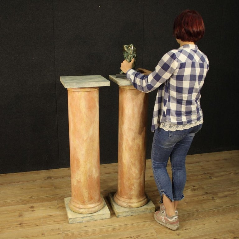 20th Century Lacquered Faux Marble Wood Pair of French Columns, 1960 For Sale 8