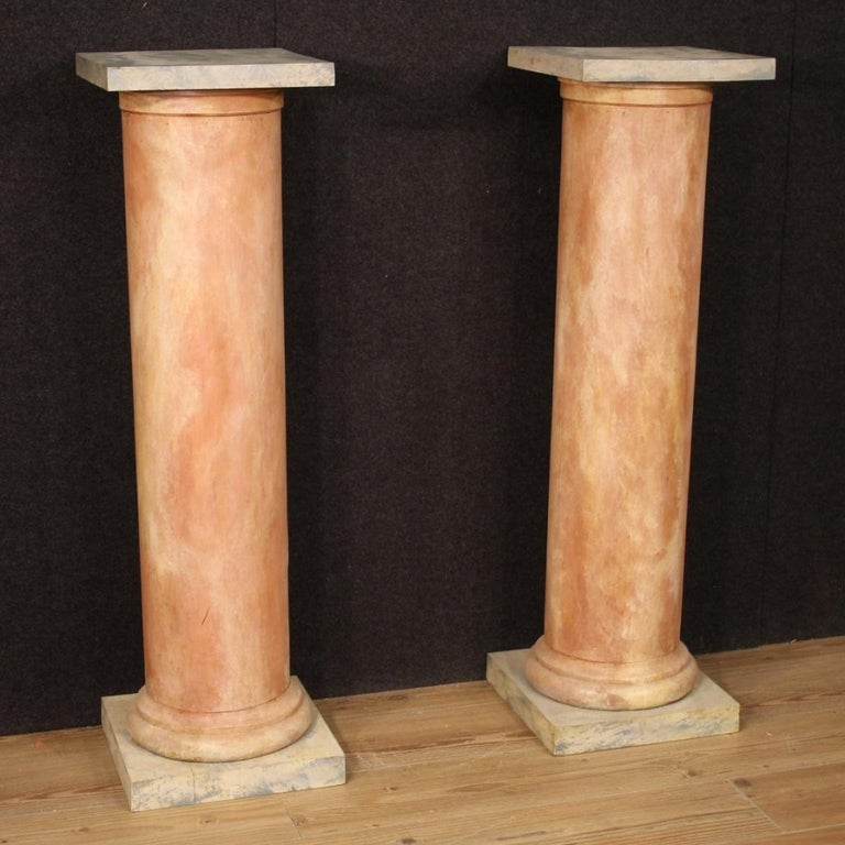 20th Century Lacquered Faux Marble Wood Pair of French Columns, 1960 In Good Condition For Sale In Vicoforte, Piedmont