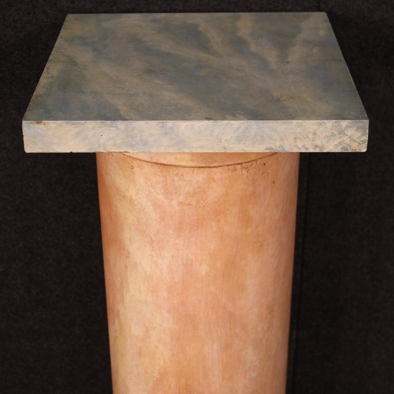20th Century Lacquered Faux Marble Wood Pair of French Columns, 1960 For Sale 1