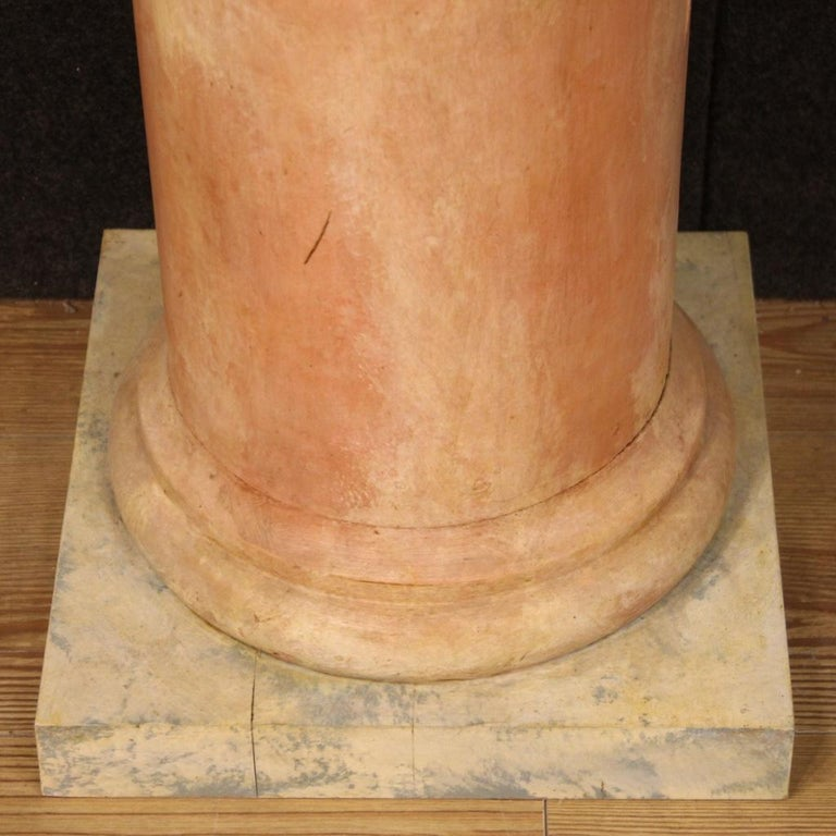 20th Century Lacquered Faux Marble Wood Pair of French Columns, 1960 For Sale 2