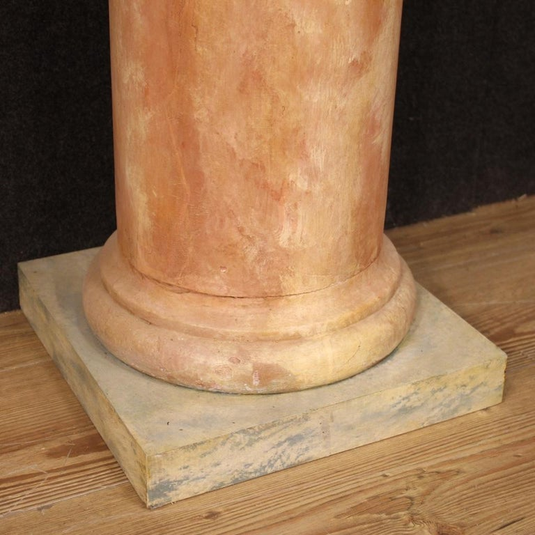 20th Century Lacquered Faux Marble Wood Pair of French Columns, 1960 For Sale 3