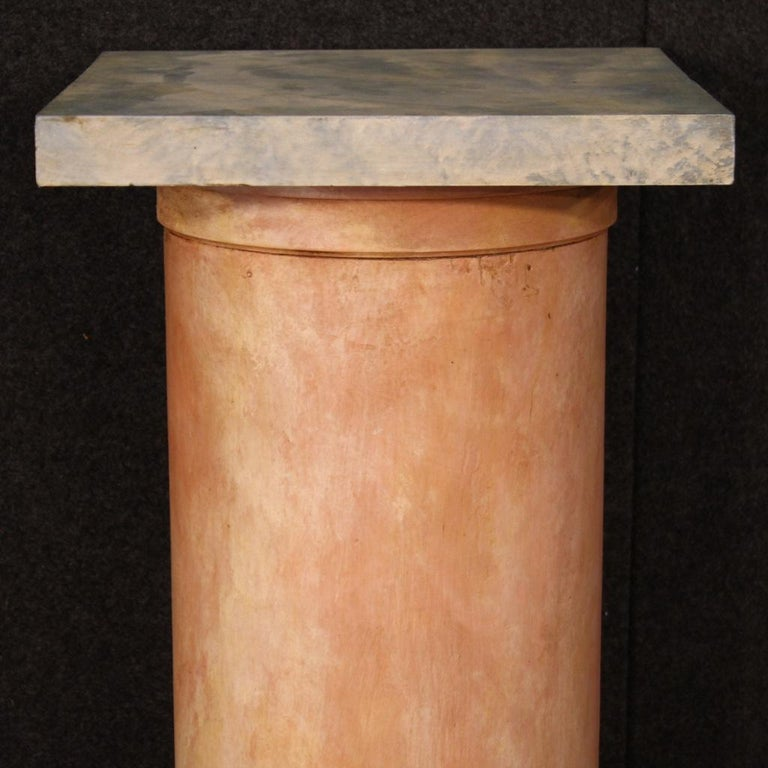 20th Century Lacquered Faux Marble Wood Pair of French Columns, 1960 For Sale 4