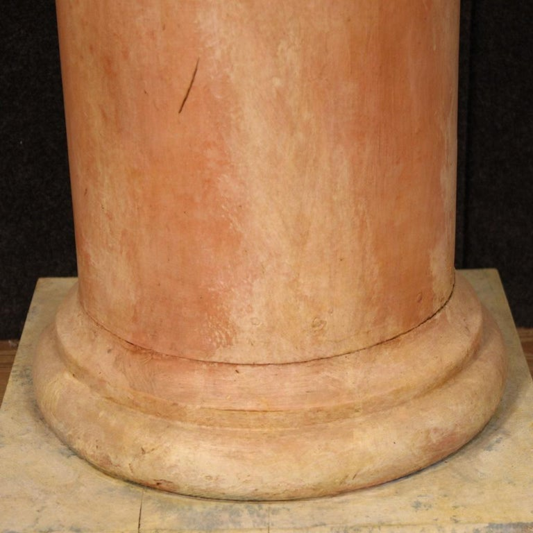 20th Century Lacquered Faux Marble Wood Pair of French Columns, 1960 For Sale 5